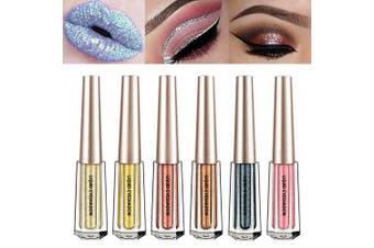 (6 Pcs A) - Glitter Liquid Eyeshadow 6 Colour Metallic Sparkling Eyeliner Shimmer Eye Shadow Face Lips Art Cosmetic Glow Pigment Shimmer Makeup Long Lasting Waterproof for Parties Cosplay Masquerade (6 Pcs A)