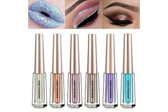 (6 Pcs B) - Glitter Liquid Eyeshadow 6 Colour Metallic Sparkling Eyeliner Shimmer Eye Shadow Face Lips Art Cosmetic Glow Pigment Shimmer Makeup Long Lasting Waterproof for Parties Cosplay Masquerade (6 Pcs B)