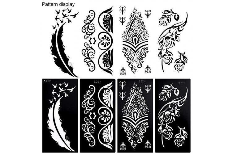 Konsait 10sheets Large Temporary Tattoo Stencils Reusable Henna Tattoo Sticker Template Feather Butterfly Mandala Flower Jewellery Face Body Art Glitter Tattoo Stencil Kit For Adults Women Girls Kogan Com