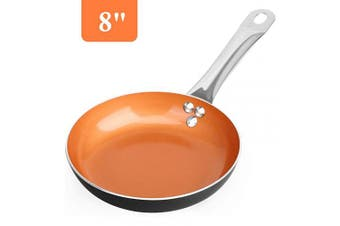 (8-inch Fry Pan) - SHINEURI 20cm Nonstick Copper Frying Pan, Omelette Pans with Stainless Steel handle - Perfect for Stir fry & Saute, Compatible for Induction, Gas, Electric & Stovetops, Perfect for 2 Person Meal