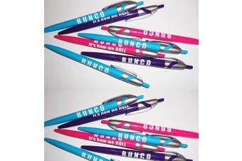 Bunco Pens - 6 Assorted Colours Pens - Bunco Supplies