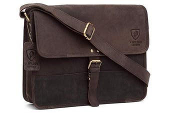 (Hunter Oiled Dark Brown) - J WILSON London - Designer Genuine Real Distressed Vintage Hunter Leather 33cm Laptop Handmade Unisex Flapover Everyday Crossover Work iPad Shoulder Messenger Bag