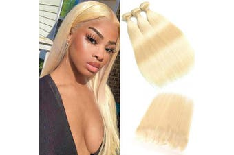 (101214+25cm , bundles with frontal) - 613 Blonde Malaysian Straight Hair Bundles With Frontal 613 Platinum Blonde Human Hair 3 Bundles With Lace Frontal Can Be Dyed (101214+25cm , bundles with frontal)