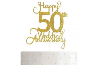 50th Wedding Anniversary Cake Topper, Wedding Anniversary Party Decoration with Premium Gold Glitter