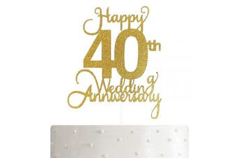 40th Wedding Anniversary Cake Topper, Wedding Anniversary Party Decoration with Premium Gold Glitter
