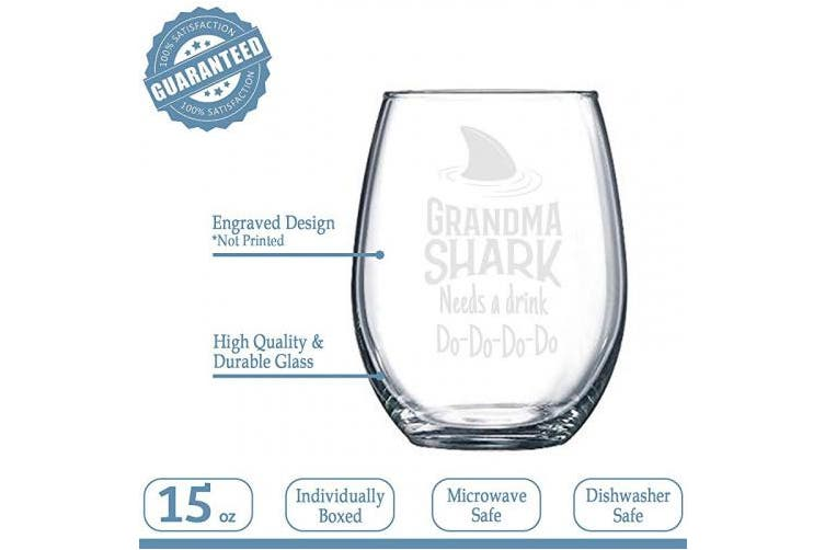 (Stemless Wine Glass) - NeeNoNex Grandma Shark Needs a Drink Stemless Wine Glass - Funny Gift for Granny - Mother's Day Gift