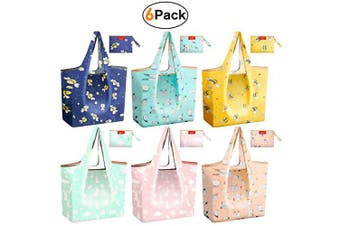 (Penguins,Bees,Rabbits) - Foldable Grocery Tote Shopping Bags Reusable 23kg Nylon Durable Bags Heavy Duty Flat Bottom Light Weight Penguins Rabbits Bees fits with Purse Shrink Proof