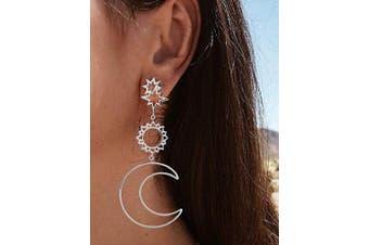 (Silver) - Chargances Women Earrings Women Fashion Boho Asymmetrical Hollow Star Sun Moon Drop Dangle Earring Jewellery (Silver)