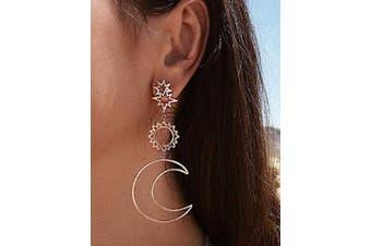 (Gold) - Chargances Bohemia Women's Earrings Gold Star Moon Drop Dangle Earrings for Women Hollow Geometric Pendant Earrings Fashion Women's Jewellery for Women and Girls(Gold)