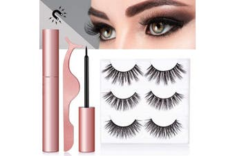 HSBCC Magnetic Eyeliner With Magnetic Eyelashes, Magnetic Eyelashes Kit False Lashes 3 Style with Tweezers