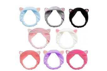 BestFire Cute Cat Ears Headbands, 8Pcs Elastic Women's Lovely Hair Band, Spa Shower Face Washing Hairband Facial Headband Make Up Wrap Head Band Washable Colourful Cloth Fits All Head Sizes