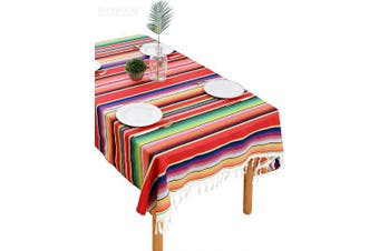(Multicolor-red) - BOXAN 150cm x 210cm Mexican Serape falsa Blanket Tablecloth for Rustic Mexican Wedding Party Decorations, Cotton Mexico Saltillo Fiesta Linen Table Cover Cloth Beach Yoga Picnic Mat Outdoor Blankets