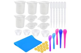 (Size 1) - Coopay Silicone Resin Mixing Cups Kit- 100ml Silicone Measuring Cups, Silicone Mixing Cups, Transfer Pipettes, Finger Cots, Silicone Stir Stick and Silicone Mat for Art Making Handmade Craft