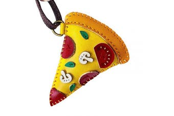 (Pizza-pt051) - 3XU Pizza Leather Toy, Cute Leather Charm, Lovely Keychain, Unique Accessories