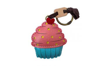 (Strawberry Cupcake-pt062) - 3XU Strawberry Cupcake Leather Toy, Cute Leather Charm, Lovely Cupcake Keychain, Unique Accessories