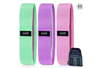 (M-Blue, Pink, Purple) - Letsfit Resistance Bands for Legs and Butt,Exercise Bands Hip Bands Wide Booty Bands