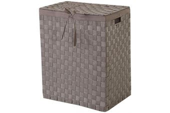 (Taupe, Rectangle) - Compactor Home Storage Stan Rectangle Laundry Basket with Lid and Linen Lining, Taupe