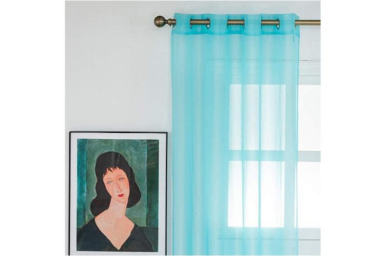 "(55x89in(140x225cm), Turquoise) - WOLTU Eyelet Ring Top Sheer Voile Curtain Transparent Decorative Curtain Panel for Door Window, Turquoise, 55"" Wide x 89"" Drop (140x225cm), 1 Panel, VH5513ts"
