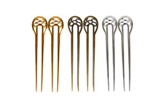 Bleiou 6 Pcs U Shape Hair Fork Alloy Hair Stick Hair Pins Hair Accessory