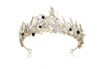 (Bronze) - Coucoland Women's Bridal Wedding Queen Crowns and Tiaras Vintage Crystal Rhinestones Pageant Crown Headband (Bronze)