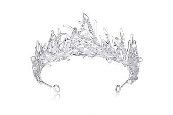 (Silver) - Coucoland Women's Bridal Wedding Princess Crown Baroque Rhinestone Pearl Tiara Pageant Birthday Hair Accessories