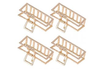 (Gold) - 4 Pieces Large Metal Hair Claw Clip Gold Jaw Clips for Women Thick Hair
