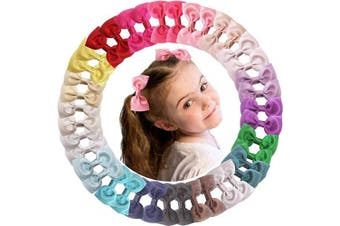40PCS 6.4cm Glitter Grosgrain Ribbon Hair Bows Clips Pigtail Hair Bows Alligator Hair Clips Fully Lined Hair Accessories for Baby Girls Toddlers Kids Children in Pairs