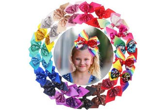 20PCS Sequin Hair Bows 15cm Glitter Sparkly Sequin Reversible With Ribbon Bows Alligator Hair Clips Rainbow Hair Bows Hair Accessories for Girls Toddlers Kids Children Teens