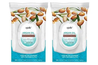 (0869-argan oil-2pk) - Epielle New Argan Oil Facial Cleansing Facial Tissues Wipes Towelettes - 60ct (Sheets) per pack. Twin Pack (Total 2 packs)