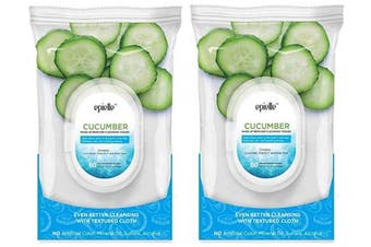 (0872-cucumber-2pk) - Epielle New Cucumber Facial Cleansing Facial Tissues Wipes Towelettes - 60ct (Sheets) per pack, Twin Pack (Total 2 packs)