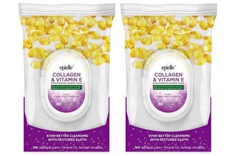 (0870-collagen-2pk) - Epielle New Collagen Facial Cleansing Facial Tissues Wipes Towelettes - 60ct (Sheets) per pack, Twin Packs (Total 2 packs)