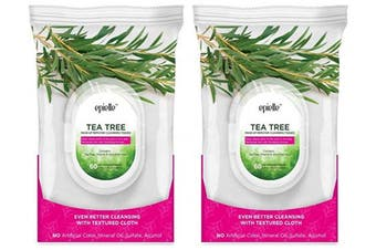(0873-tea tree-2pk) - Epielle New Tea Tree Facial Cleansing Facial Tissues Wipes Towelettes - 60ct (Sheets) per pack, Twin Pack (Total 2 packs)