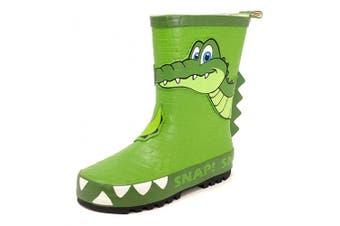 (11 UK Child, Green Crocodile) - Childrens Kids 3D Wellington Boots Rain Wellies Boys Girls Mid Calf Snow Boots Size 8-2