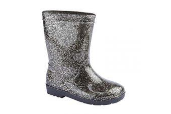 (7 UK Child) - Carcassi Girls Glitter Wellies/Rain Boots