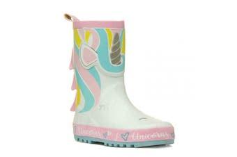 (1 UK, Blue Pink Luga) - Childrens Kids Fun 3D Glitter Wellington Boots Rain Wellies Girls Mid Calf Snow Boots