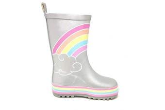 (1 UK, Silver Hual) - Childrens Kids Fun 3D Glitter Wellington Boots Rain Wellies Girls Mid Calf Snow Boots