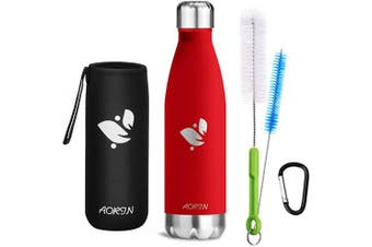 "(Grape red, 500ml) - AORIN Stainless Steel Water Bottle ""drinkBottles"" BPA-Free Vacuum Insulated Stainless - 24 hrs Cooling & 12 hrs Keep Warm,Outdoor Sports Flask hot For Cold & Carbonated Drinks"