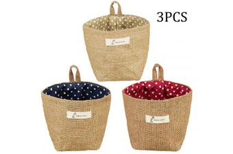 (Dot) - Acronde Mini Hanging Storage Bag Cotton Linen Small Storage Basket Decor