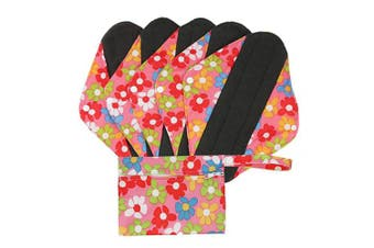 (L, Pink Flowers) - Hisprout Bamboo-Charcoal Reusable Sanitary Pads, Cloth Mama Menstrual Pads, Pink Flowers(WSDL01)