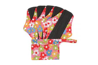 (M, Pink Flowers) - Hisprout Bamboo-Charcoal Reusable Sanitary Pads, Cloth Mama Menstrual Pads, Pink Flowers(WSDM01)