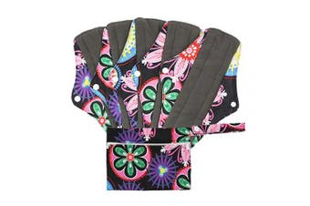 (M, Ethnic Style) - Hisprout Bamboo-Charcoal Reusable Sanitary Pads, Cloth Mama Menstrual Pads, Ethnic Style (WSDM06)