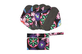 (S, Ethnic Style) - Hisprout Bamboo-Charcoal Reusable Sanitary Pads, Cloth Mama Menstrual Pads, Ethnic Style (WSDS06)