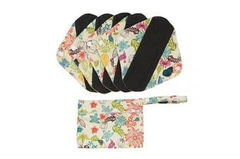 (S, Butterfly Flowers) - Hisprout Bamboo-Charcoal Reusable Sanitary Pads, Cloth Mama Menstrual Pads, Butterfly Flowers (WSDS04)