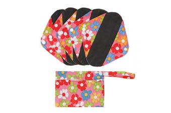 (S, Pink Flowers) - Hisprout Bamboo-Charcoal Reusable Sanitary Pads, Cloth Mama Menstrual Pads, Pink Flowers(WSDS01)