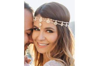 (gold) - Chargances Women Head Chain Bridal Flower Vintage Head Chain Bohemian Headbands Crystal Halloween Headpiece Wedding Jewellery (gold)
