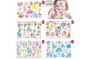 (10 Sheets 200+ Pcs, Princess) - Qemsele Temporary Tattoo for kids, 10 Sheets 200+ Pcs Fake Waterproof Temporary Tattoo Princess Sticker for Boy Girl Teens Birthday Party Bags Fillers Favours Supplies Gifts Goodies