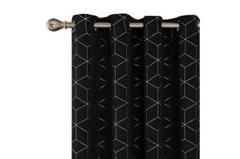 "(2x W52""x L72"", Black) - Deconovo Diamond Foil Printed Thermal Insulated Curtains Eyelet Blackout Curtains for Boys Room with Two Matching Tie Backs W52 x L72 Inch Black One Pair"
