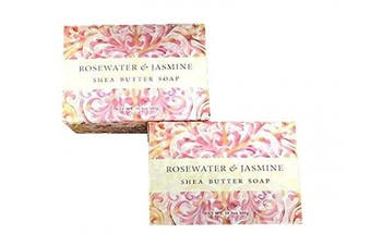 (Rosewater & Jasmine) - Greenwich Bay Trading Company Set of Two 310ml Shea Butter Soap Bars (Rosewater & Jasmine)