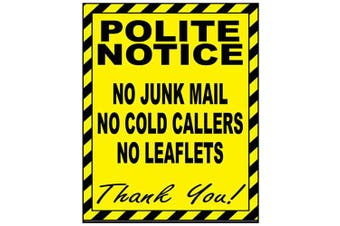 2 x No Cold Callers Junk Mail or Leaflets Door Warning Sign STATIC CLING Stickers each 100 x 80mm