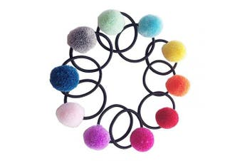 ericotry 10PCS Cute Colourful Elastic Hair Ties Girls Hair Scrunchie Hair Rope with Pom Balls Stretchy Hair Rubber Bands Ponytail Holder Styling Accessories for Baby Infant Toddlers (Colour Random)